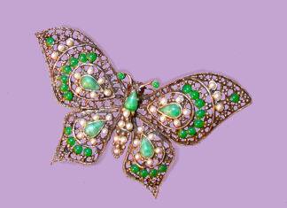 Broszka srebrna motyl